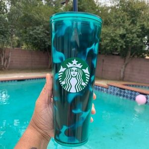 Starbucks Turquoise Marble Wave Tumbler